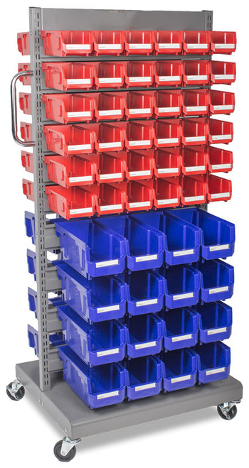 Mobile storage rack with parts bins