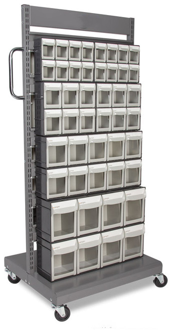 Mobile storage rack with clear flip front parts bins