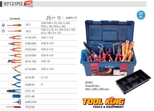 Electricians tool kit 21pc  KING TONY professional Apprentice kit