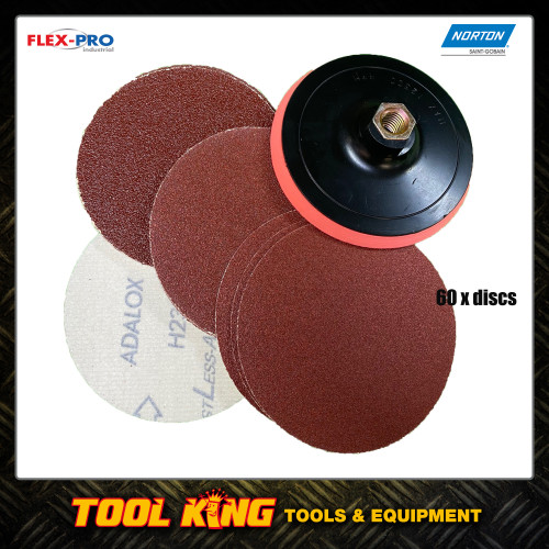 "125mm Backing pad plus 60 x sanding discs to suit 5"" Angle grinders"