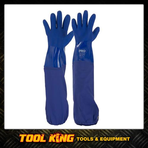 Blue Pvc Chemical Gloves Extra Long 60cm