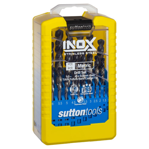 Sutton Tools 19pc INOX Drill Bit Set 1-10mm for Stainless steel