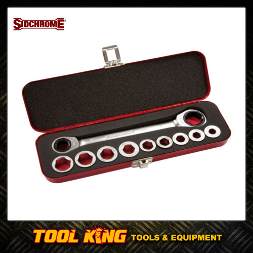 Sidchrome 10pc Ratchet ring wrench & adaptor set