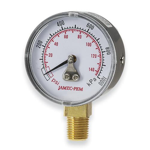 Air compressor Gauge Bottom entry Jamec Pem