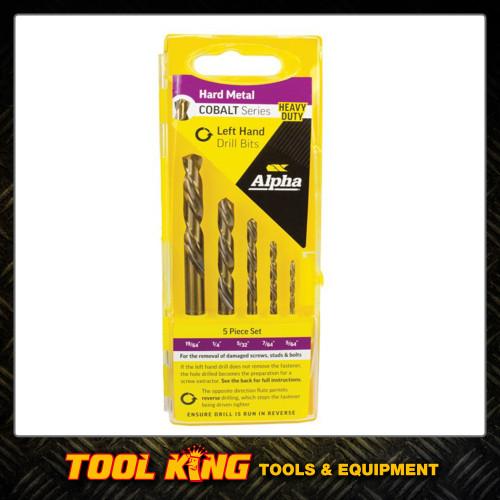 5pc Left hand reverse drill bit set Cobalt HSS for broken bolts