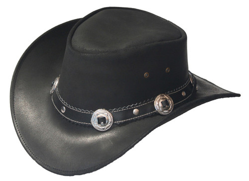 leather cowboy hats with conchos and rivets