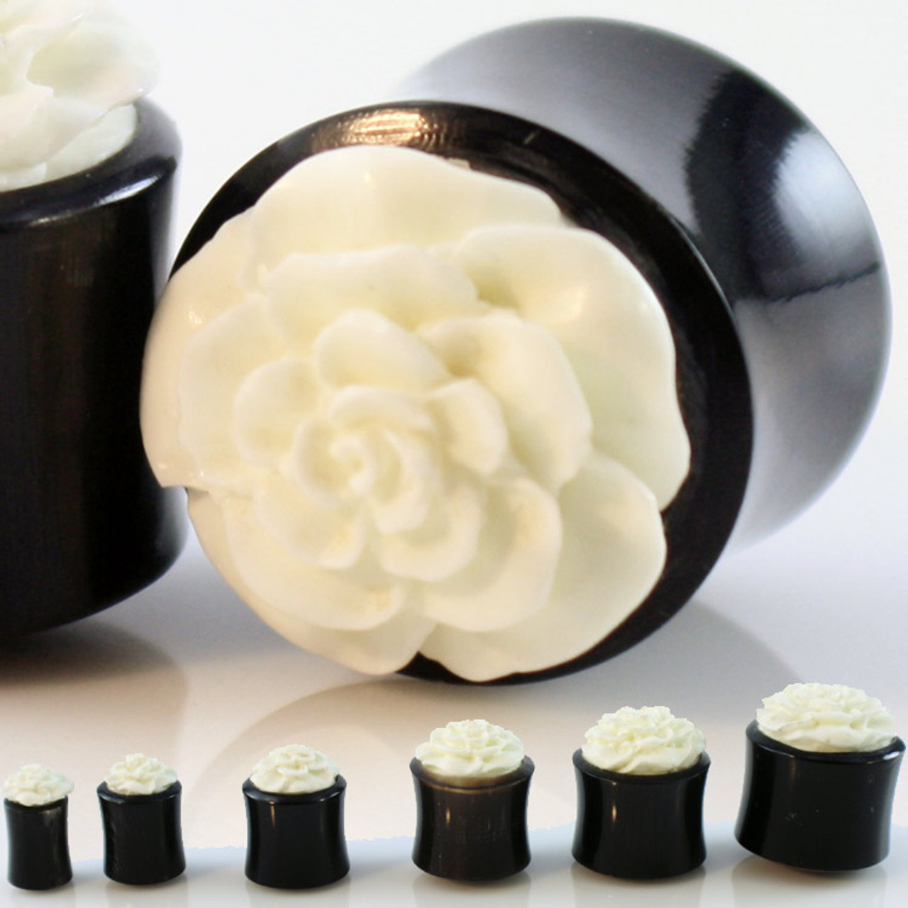Organic Hand Carved Flower Ear Plugs Bone Horn 5 2mm 6 5mm 8mm 10mm 12mm 14mm 16mm 19mm Gauge Gear