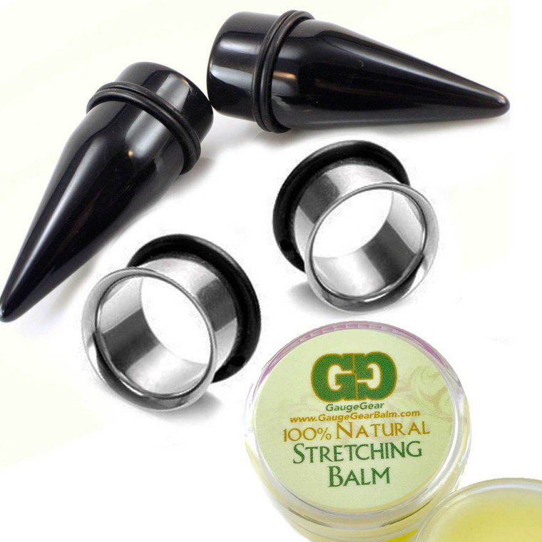 pair acrylic tapers with stainless steel tunnels with gauge gear balm