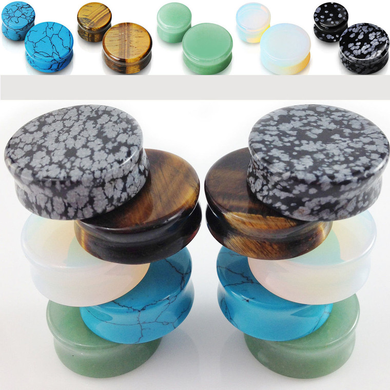 Double flared semi precious stone plugs