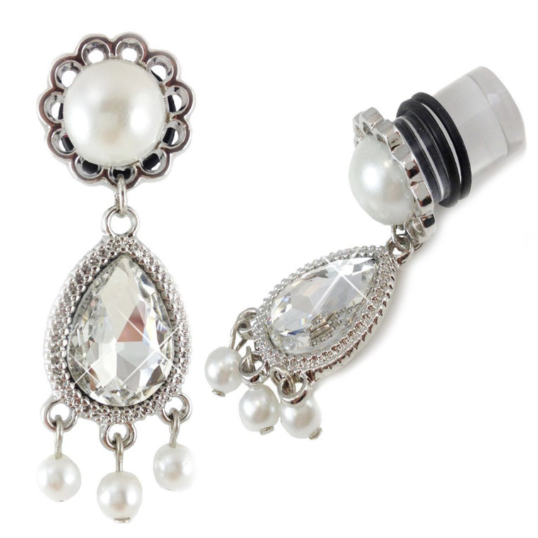 Dangle Plugs CZ and Pearl Front and side
