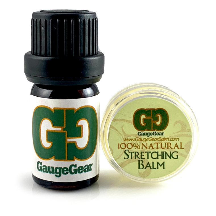 Mini Gauge Gear Balm & Blend Aftercare Set - 0.15 oz Ear Stretching Balm   5 mL Daily Conditioining Oil   Use for Stretched Ears, Piercings