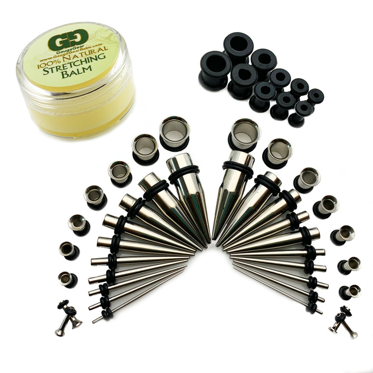 Ultimate Starter Kit 20Pc 316L Steel Tapers 16G-00G | 18 Pc Stainless Steel 316L Ear Tunnels 14G-00G Kit Gauges Expander Set | Gauge Gear Ear Stretching Balm | Silicone Ear Tunnel Set 6G-00G