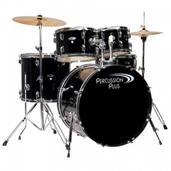 Percussion Plus 5pc Drumset w/ Hardware and Cymbals PP4100 Black