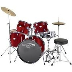 Percussion Plus 5pc Drumset w/ Hardware and Cymbals PP4100 Brushed Red
