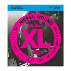 D'Addario XL Nickel Wound Regular Light Gauge Short Scale Bass Strings | Northeast Music Center Inc.