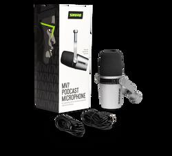Shure MV7 XLR/USB Dynamic Podcast Microphone - Silver (MV7-S) | Northeast Music Center Inc.