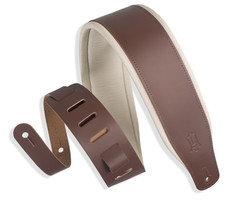 """Levy's Classic Series Favorite 3"""" Padded Leather Guitar Strap - Brown & Cream 