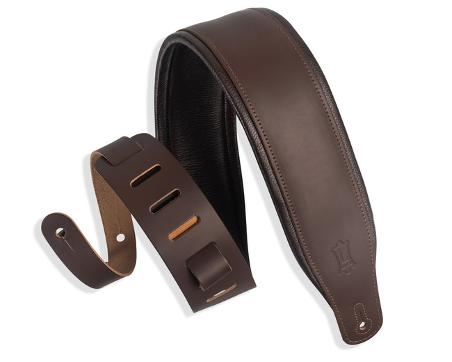 """Levy's classic series favorite 3"""" padded leather guitar strap - Dark Brown 