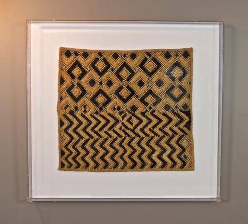 Framed African Kuba Cloth Textile - Acrylic