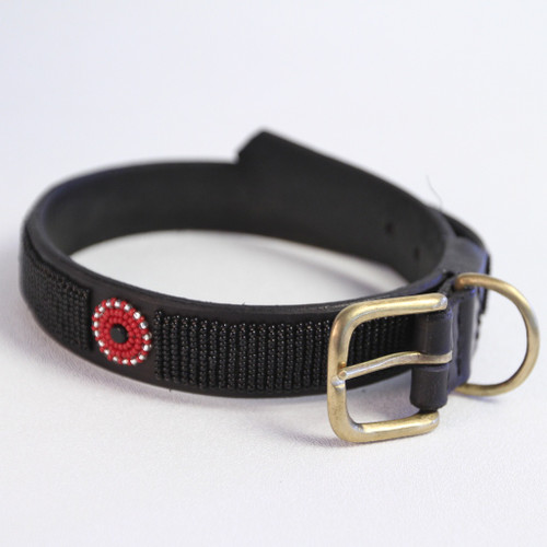 Maasai Beaded Dog Collar - Black