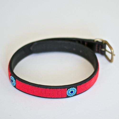 Maasai Beaded Dog Collar - Bright Red