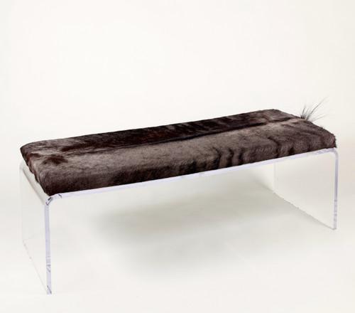 Blue Wildebeest Hide Upholstered Bench on Acrylic Base
