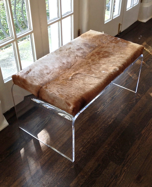 Red Hartebeest Hide Upholstered Bench on Acrylic Base