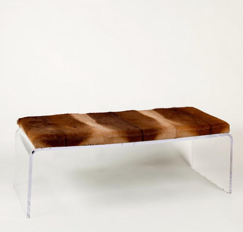 Impala Hide Upholstered Bench on Acrylic Base