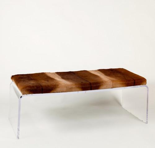 Impala Hide Upholstered Bench on Acrylic Base