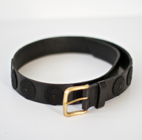 Maasai Beaded Disc Belt - Black