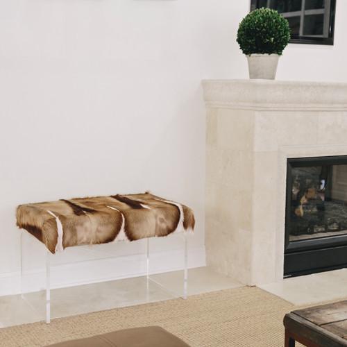 Springbok Hide Upholstered Bench on Acrylic Base