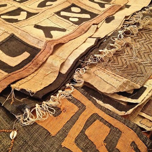 Raffia Kuba Cloth Textile Runners - medium