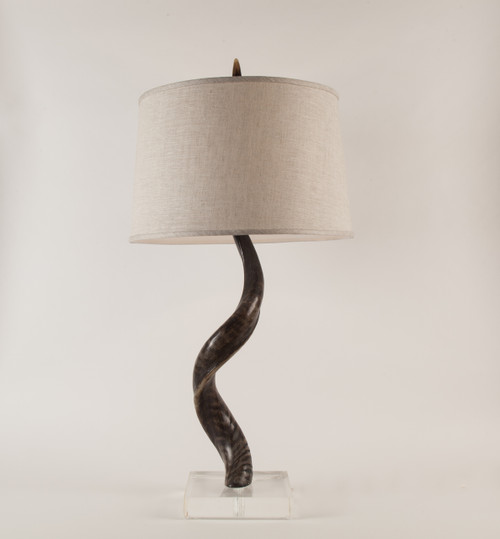 Kudu Horn Table Lamp on Acrylic