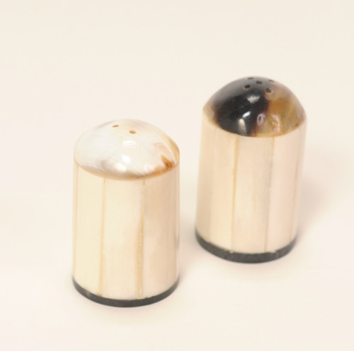 Carved Bone and Horn Salt & Pepper Shakers