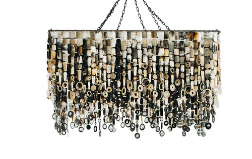 Nguni Cow Horn Ceiling Mount Rectangular Chandelier