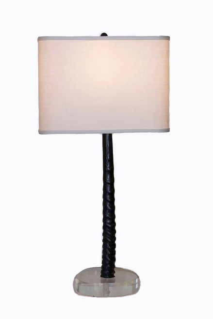 Gemsbok Horn Table Lamp on Acrylic