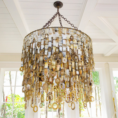 Nguni Cow Horn Ceiling Mount Chandelier - Light