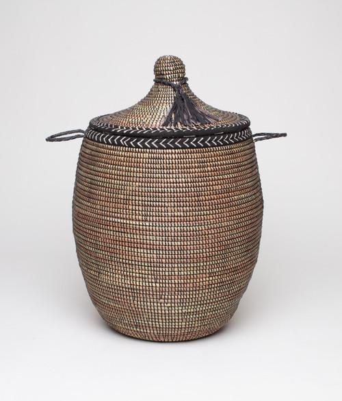 Douwe basket - black with bogolan trim