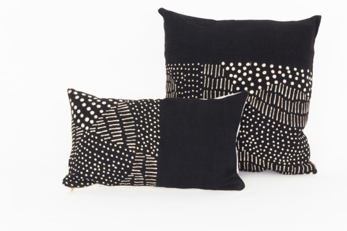 Bogolan Pillow - Black Lumbar with Dots