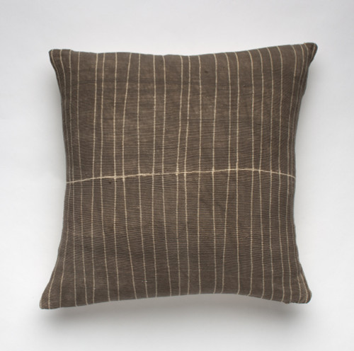 Bogolan Pillow - Grey with Subtle Stripe