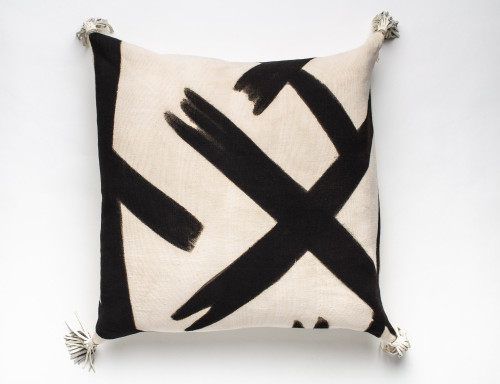 Bogolan Mud Cloth Floor Pillow-Abstract Art with Italian Leather Backing