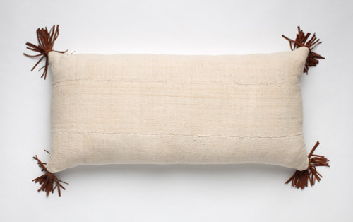 Bogolan Pillow - Lumbar with Leather Tassels