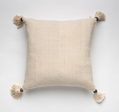 Bogolan Cotton Pillow with Malian Pearl Tassels