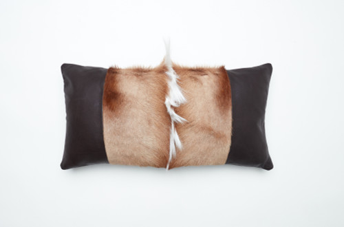 Springbok Hide and Leather Pillow-Lumbar