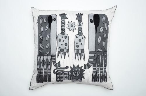 African Needlepoint Pillow-Grey