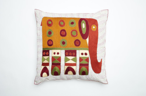 African Needlepoint Pillow-Burnt Orange