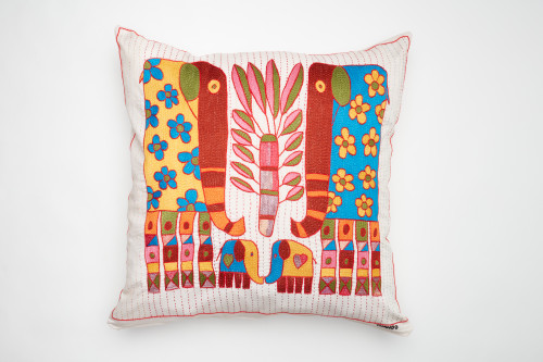 African Needlepoint Pillow-Vibrant