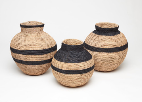 Striped Heritage Baskets - set of 3 Black