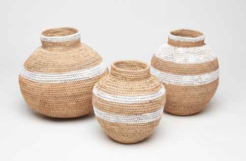 Striped Heritage Baskets - set of 3 White