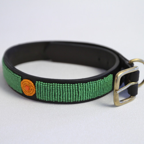 Maasai Beaded Dog Collar - Green